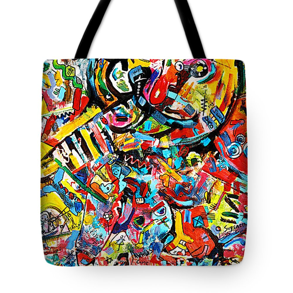 Abstract Painting Tote Bag featuring the painting Man With Red Nose by Kathi Halickman