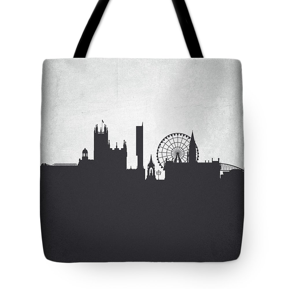 Manchester Tote Bag featuring the painting Manchester England Cityscape 19 by Aged Pixel