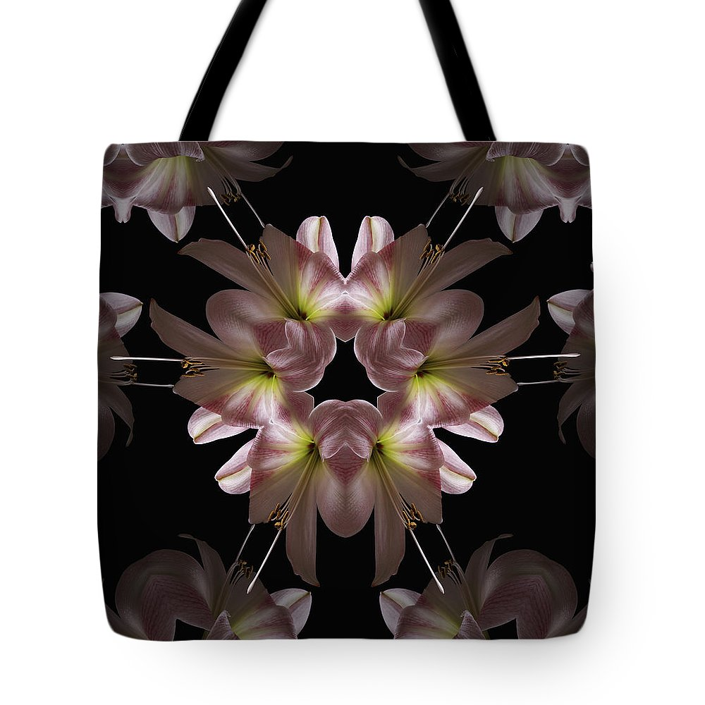 Mandala Tote Bag featuring the digital art Mandala Amarylis by Nancy Griswold