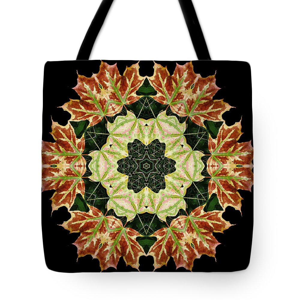 Autumn Tote Bag featuring the photograph Mandala Autumn Star by Nancy Griswold
