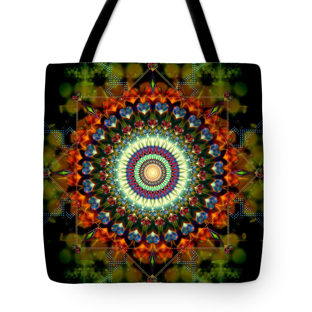 Mandala Tote Bag featuring the digital art Mandala Of Loves Journey by Stephen Lucas