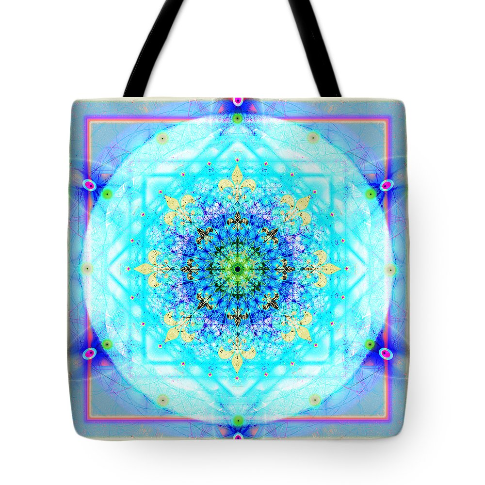 Mandala Tote Bag featuring the digital art Mandala of Womans Spiritual Genesis by Stephen Lucas
