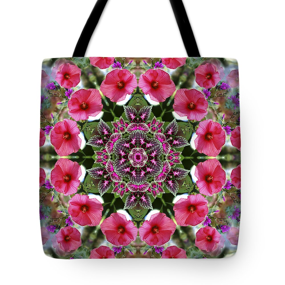Mandala Tote Bag featuring the digital art Mandala Pink Patron by Nancy Griswold