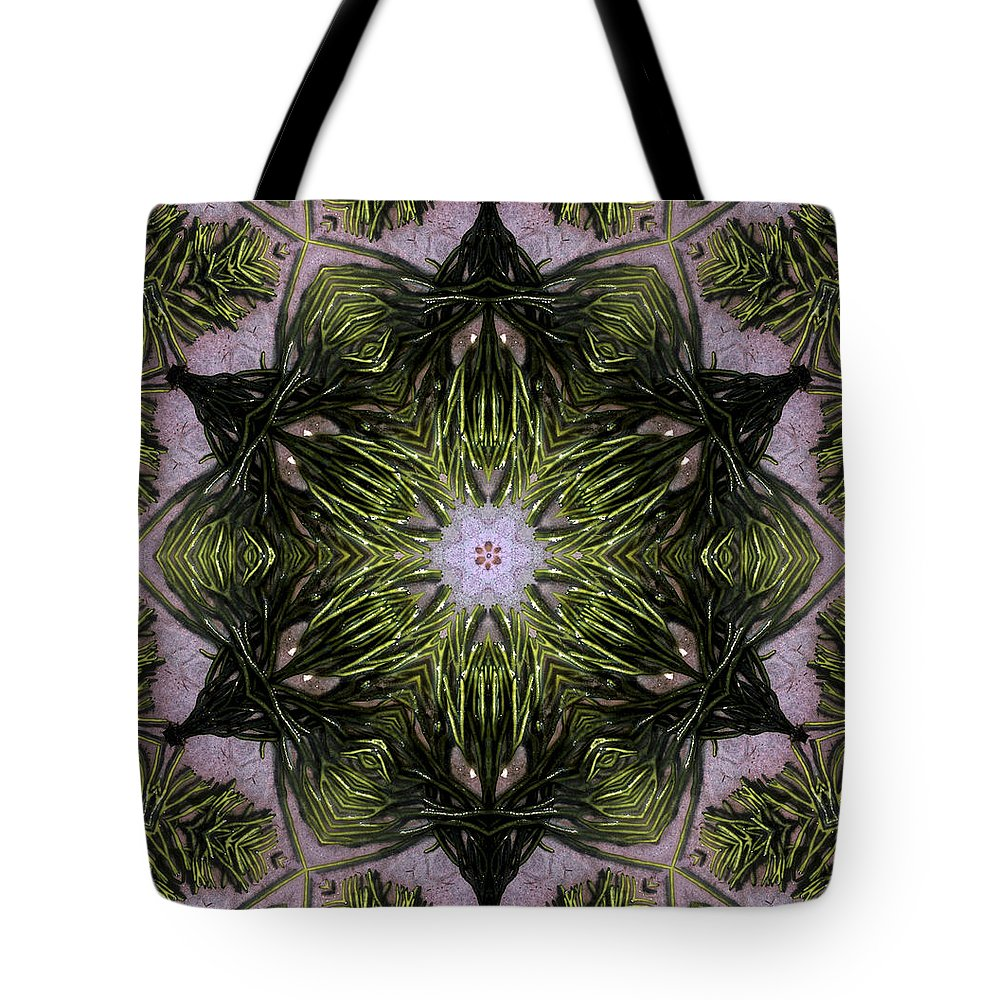 Mandala Tote Bag featuring the digital art Mandala Sea Sponge by Nancy Griswold