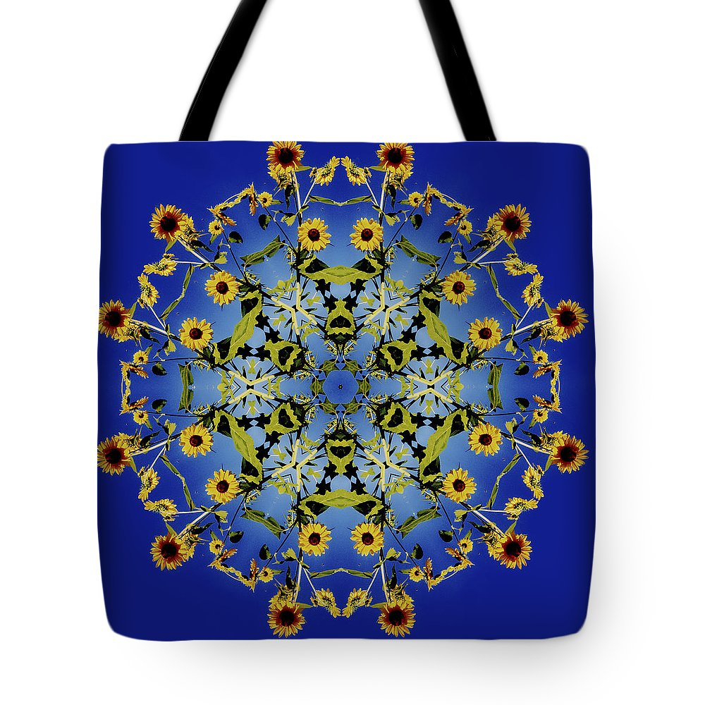 Mandala Tote Bag featuring the digital art Mandala Sunflower by Nancy Griswold