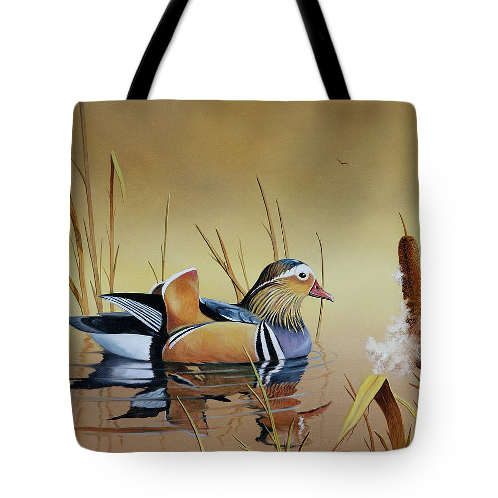 Duck Tote Bag featuring the painting Mandarin Duck by Don Griffiths