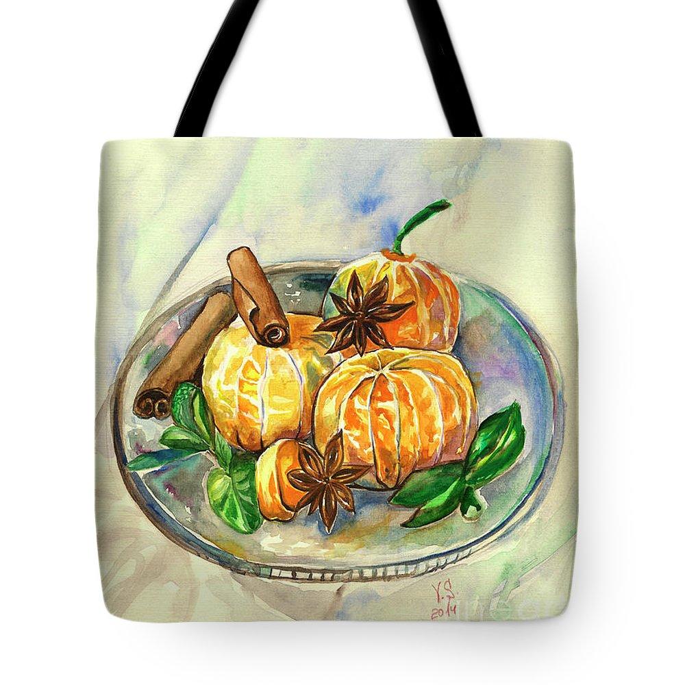 Mandarins Tote Bag featuring the painting Mandarins by Yana Sadykova