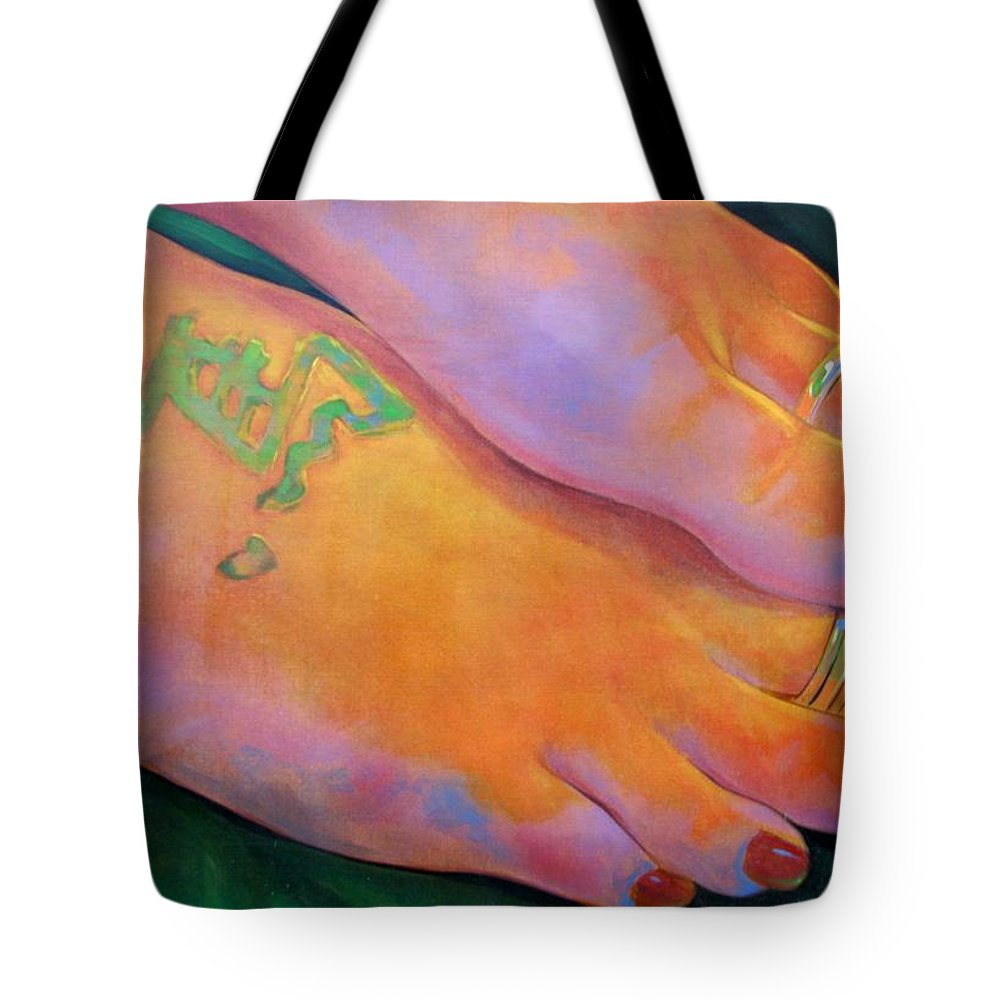 Toes Tote Bag featuring the painting Mandy Toes Orange by Jerrold Carton