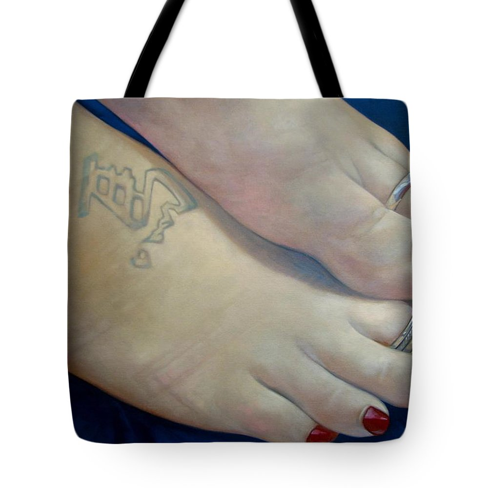 Toes Tote Bag featuring the painting Mandys Toes by Jerrold Carton