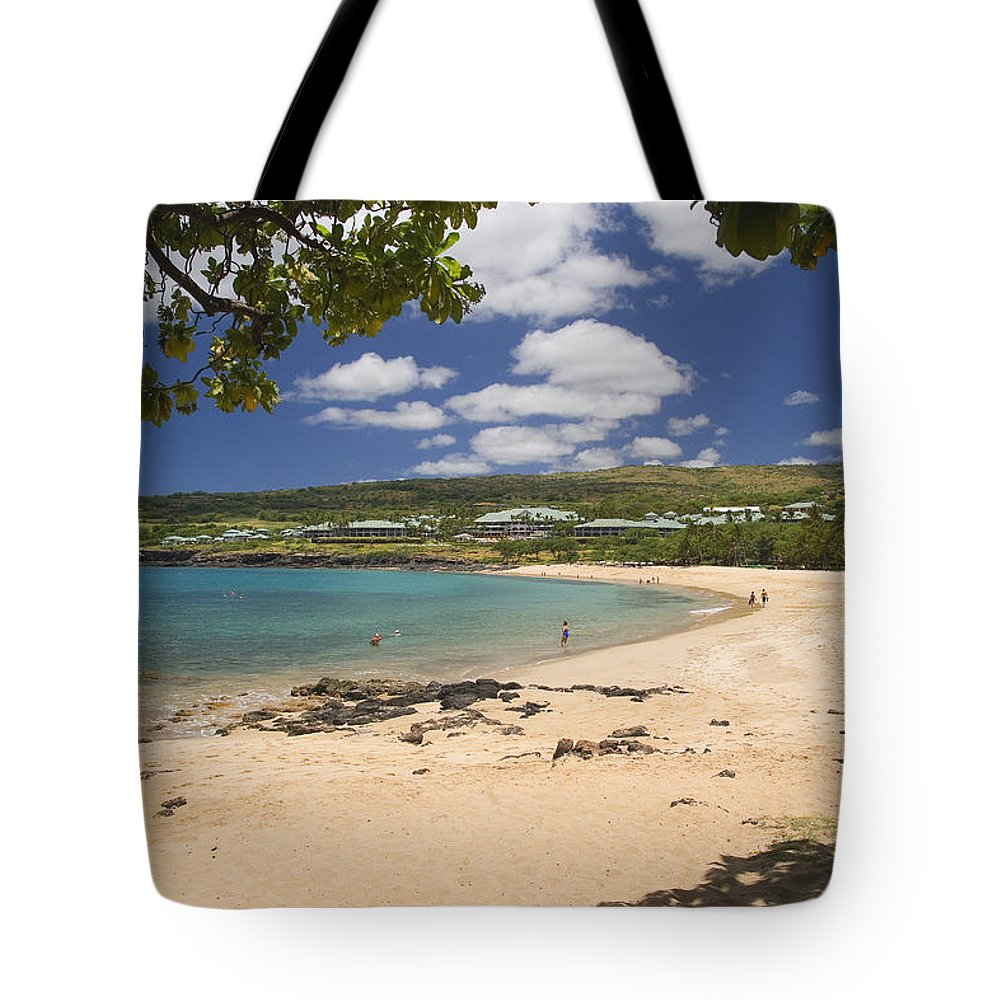 Bay Tote Bag featuring the photograph Manele Bay by Ron Dahlquist - Printscapes