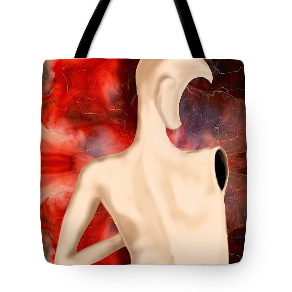 Woman Fashion Naked Surreal Abstract Tote Bag featuring the digital art Manequin by Veronica Jackson