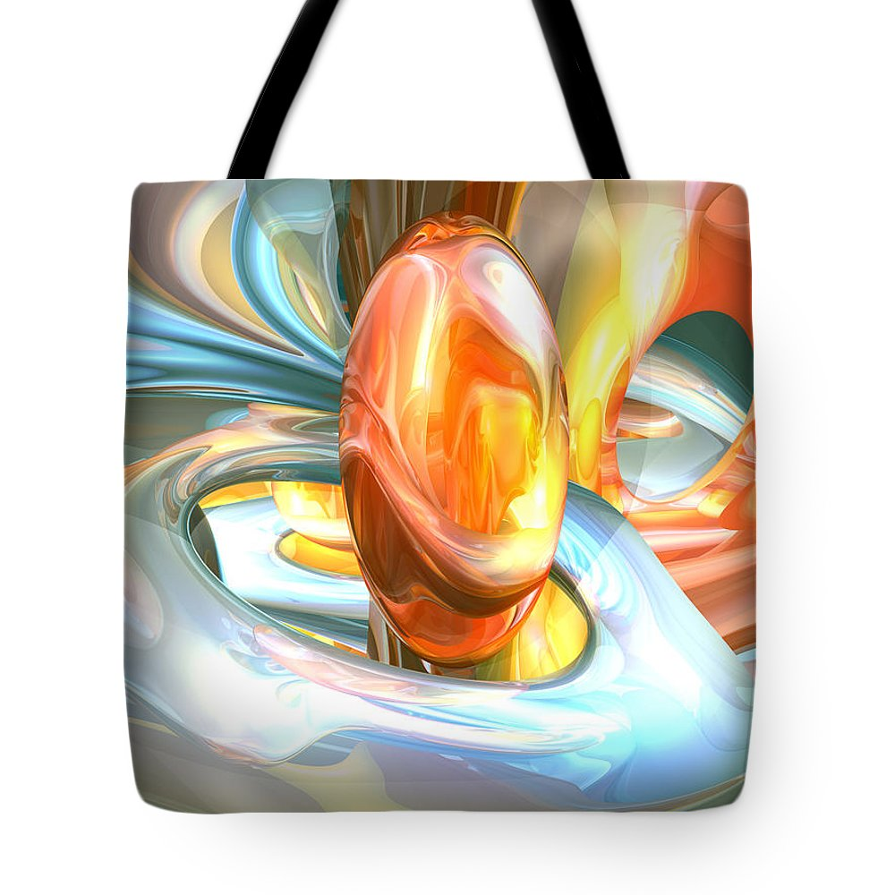 3d Tote Bag featuring the digital art Mango And Cream Abstract by Alexander Butler