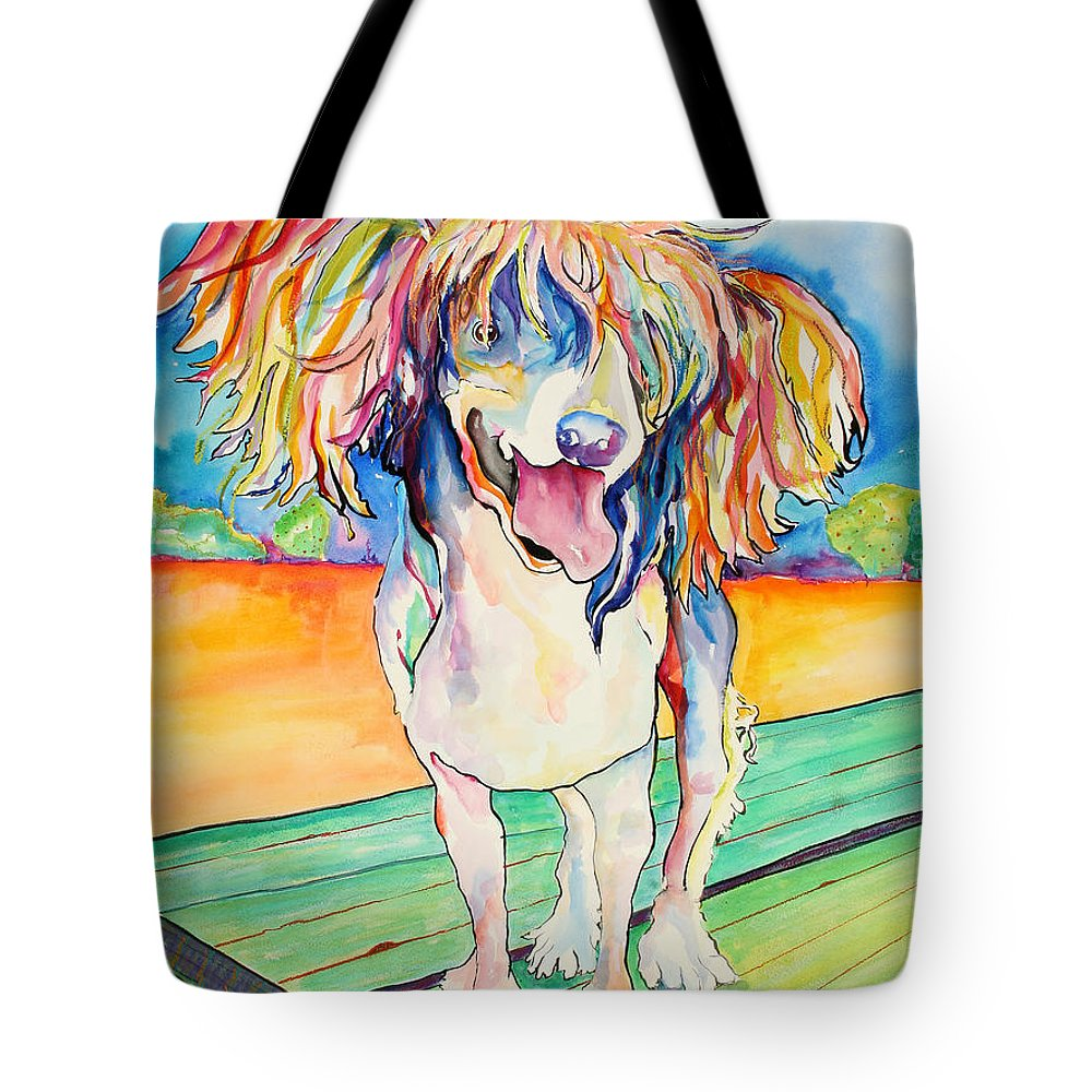 Chinese Crested Tote Bag featuring the painting Mango Salsa by Pat Saunders-White