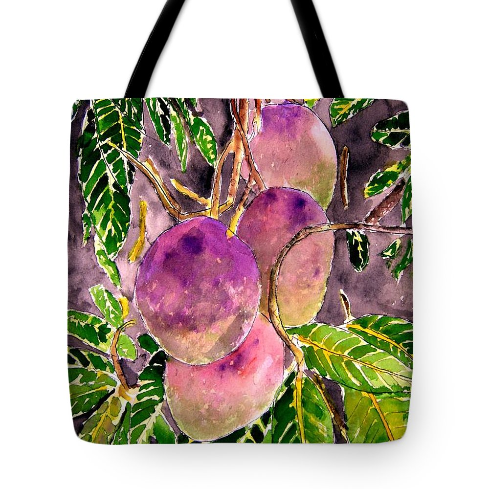 Mango Tote Bag featuring the painting Mango Tree Fruit by Derek Mccrea