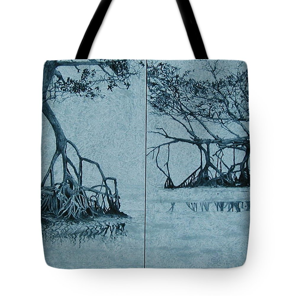 Blue Tote Bag featuring the painting Mangroves by Leah Tomaino