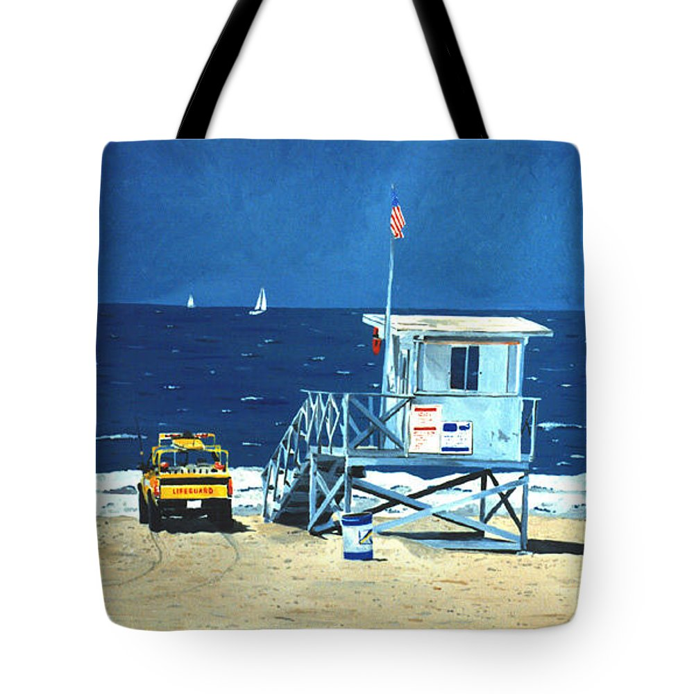Modern Tote Bag featuring the painting Manhattan Beach Lifeguard Station by Lance Headlee