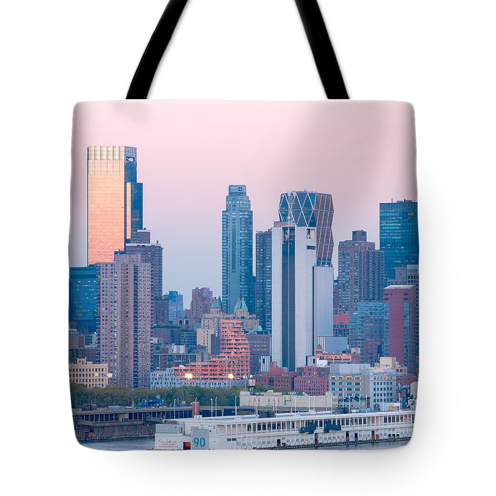 Clarence Holmes Tote Bag featuring the photograph Manhattan Cruise Terminal And Skyline by Clarence Holmes