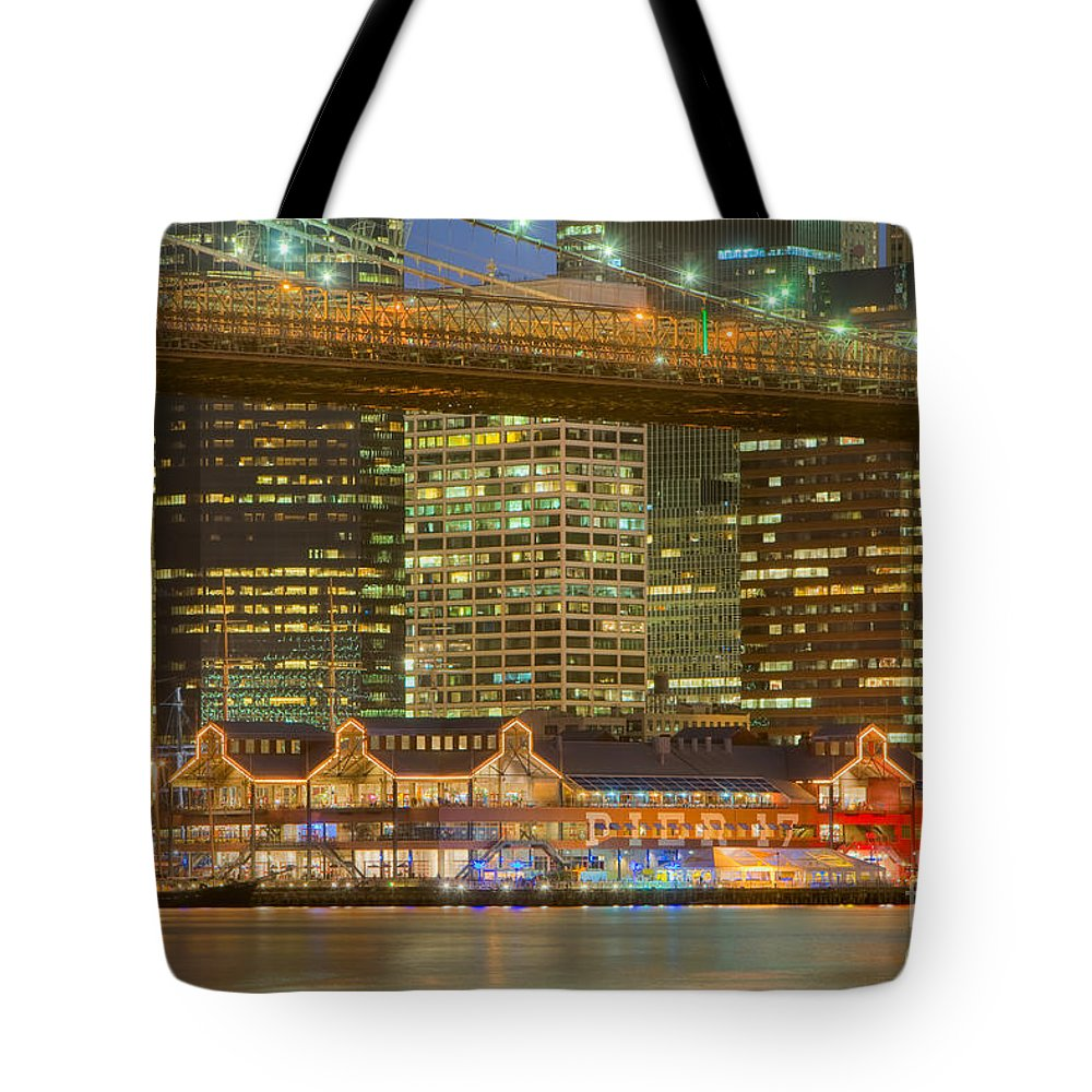 Clarence Holmes Tote Bag featuring the photograph Manhattan Night Skyline I by Clarence Holmes