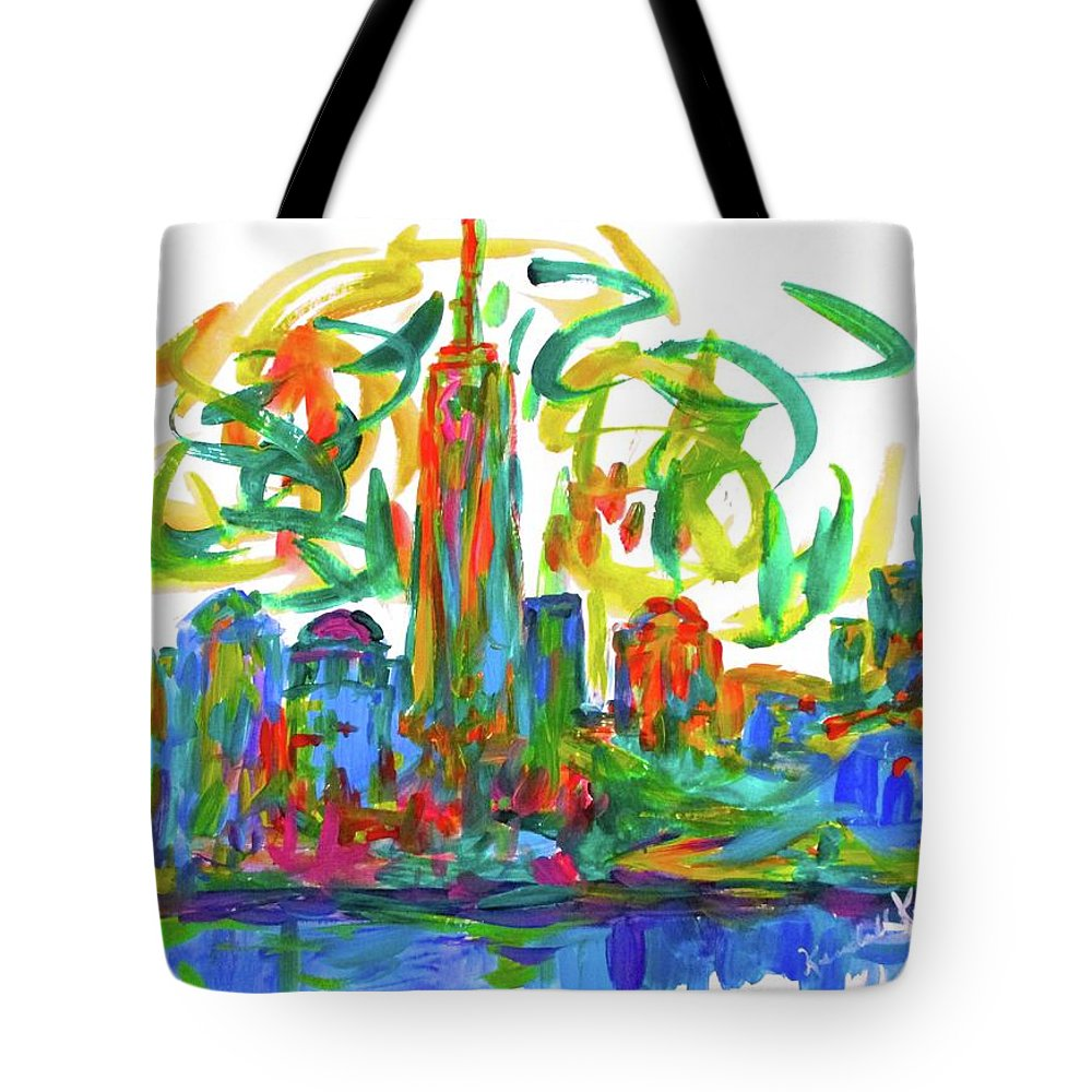 New York Prints For Sale Tote Bag featuring the painting Manhattan Twirl by Kendall Kessler