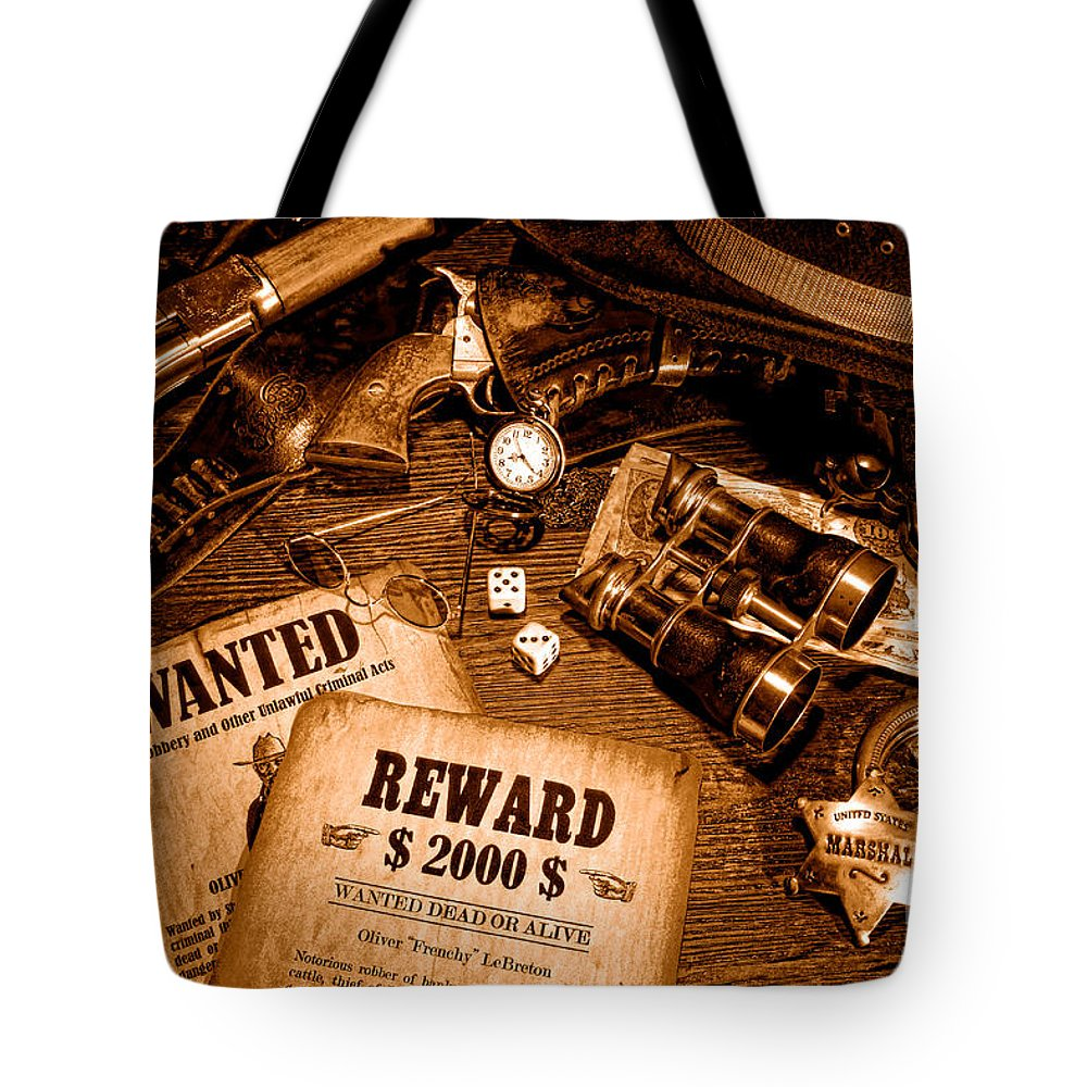 Western Tote Bag featuring the photograph Manhunter - Sepia by Olivier Le Queinec