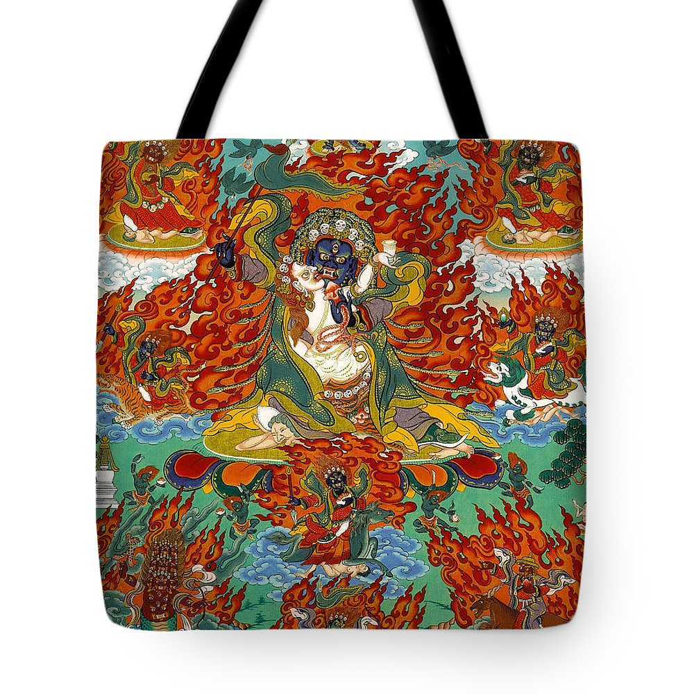Thangka Tote Bag featuring the painting Maning Mahakala With Retinue by Sergey Noskov