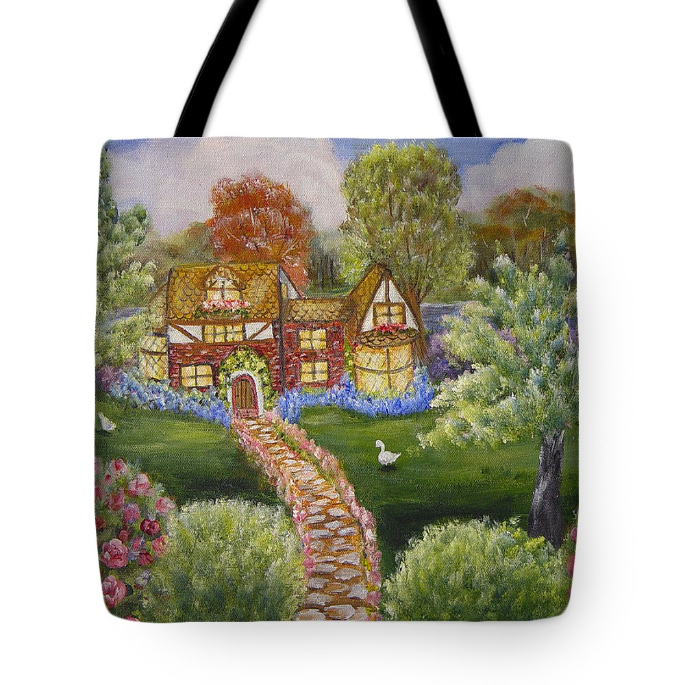 Landscape Tote Bag featuring the painting Manor Of Yore by Quwatha Valentine