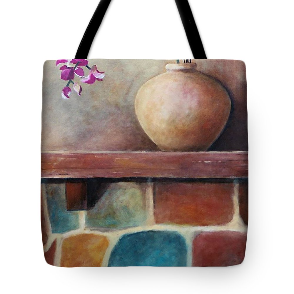 Mantel Tote Bag featuring the painting Mantel Beauty by Jun Jamosmos