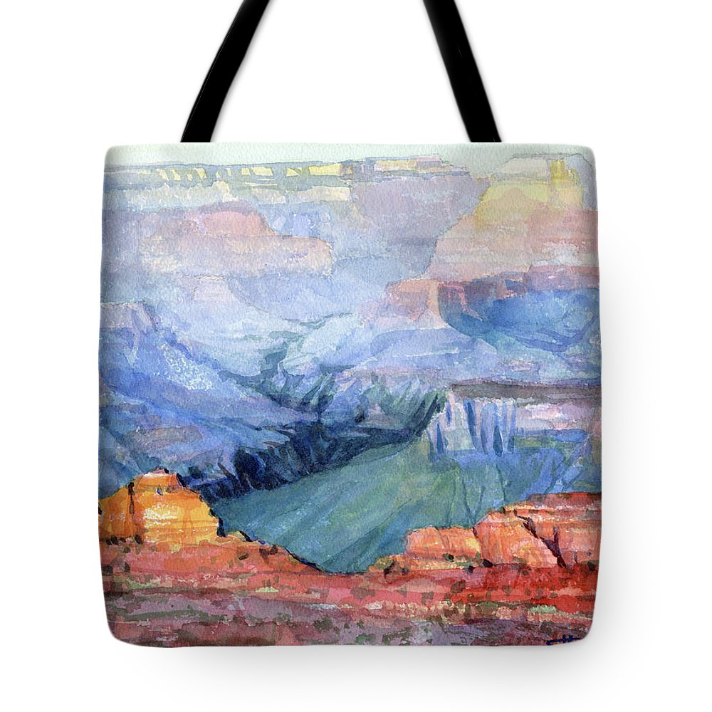 Grand Canyon Tote Bag featuring the painting Many Hues by Steve Henderson