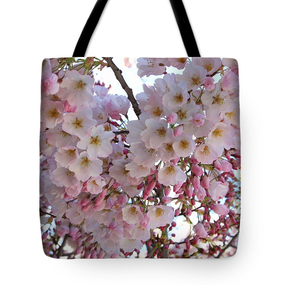 Pink Blossoms Tote Bag featuring the photograph Many Pink Blossoms by Carol Groenen