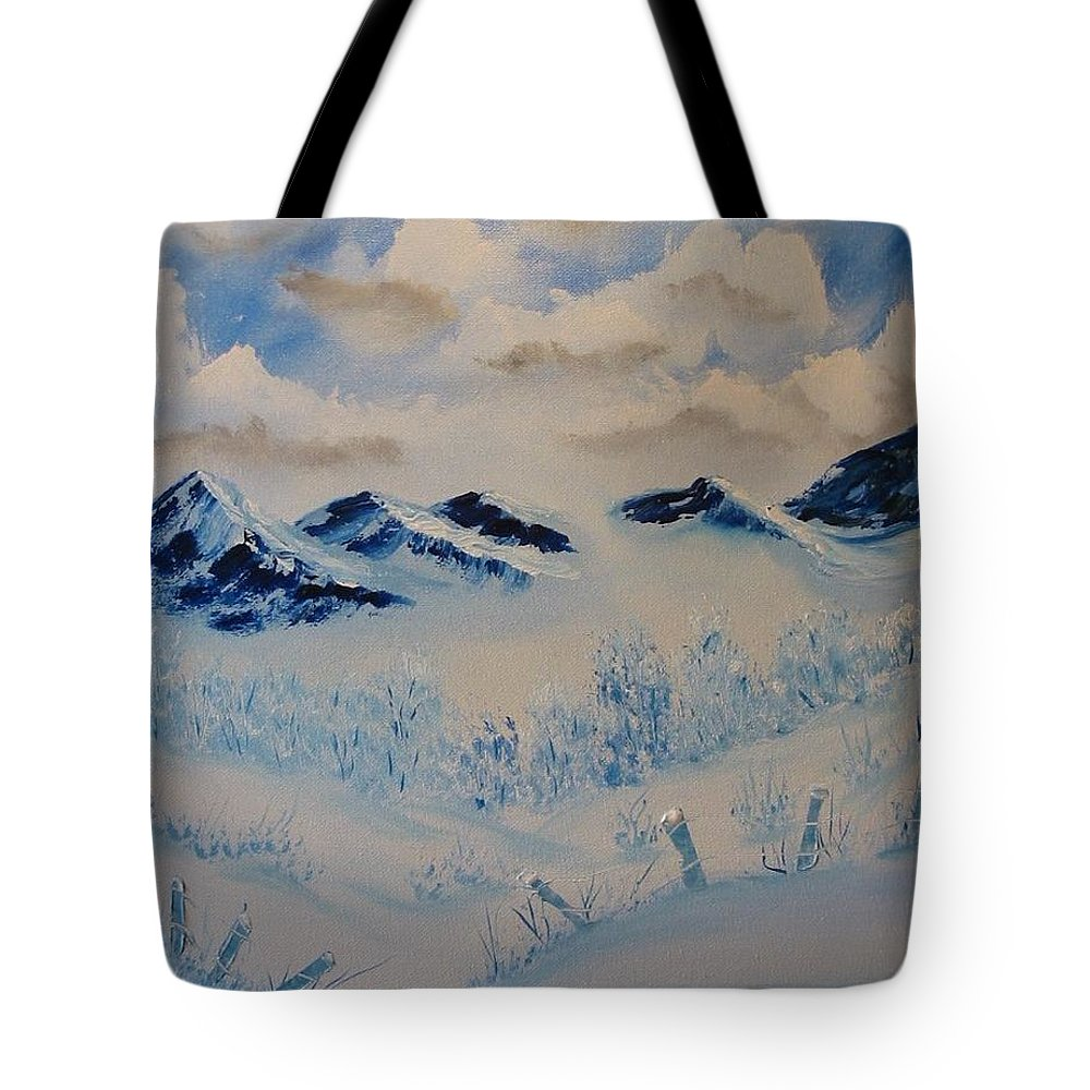 Blue Tote Bag featuring the painting Many Valleys by Laurie Kidd