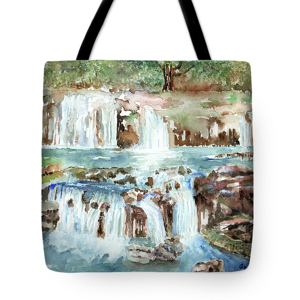 Waterfall Tote Bag featuring the painting Many Waterfalls by Arline Wagner