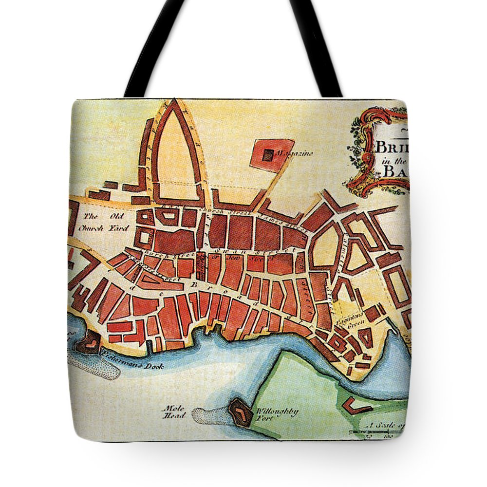 1770 Tote Bag featuring the photograph Map: Barbados, C1770 by Granger