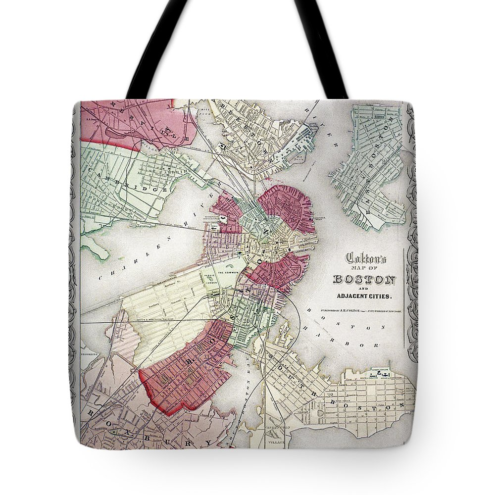 1865 Tote Bag featuring the photograph Map: Boston, 1865 by Granger