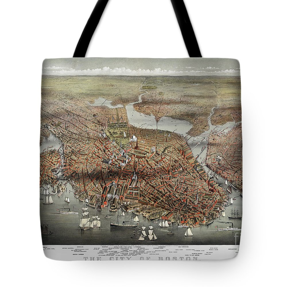 1873 Tote Bag featuring the photograph Map: Boston, C1873 by Granger