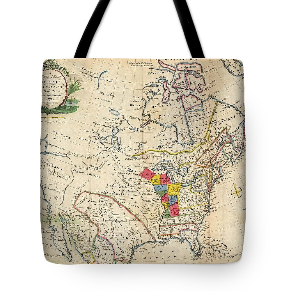 Map Tote Bag featuring the painting Map Of Colonial North America by Jonathan Carver