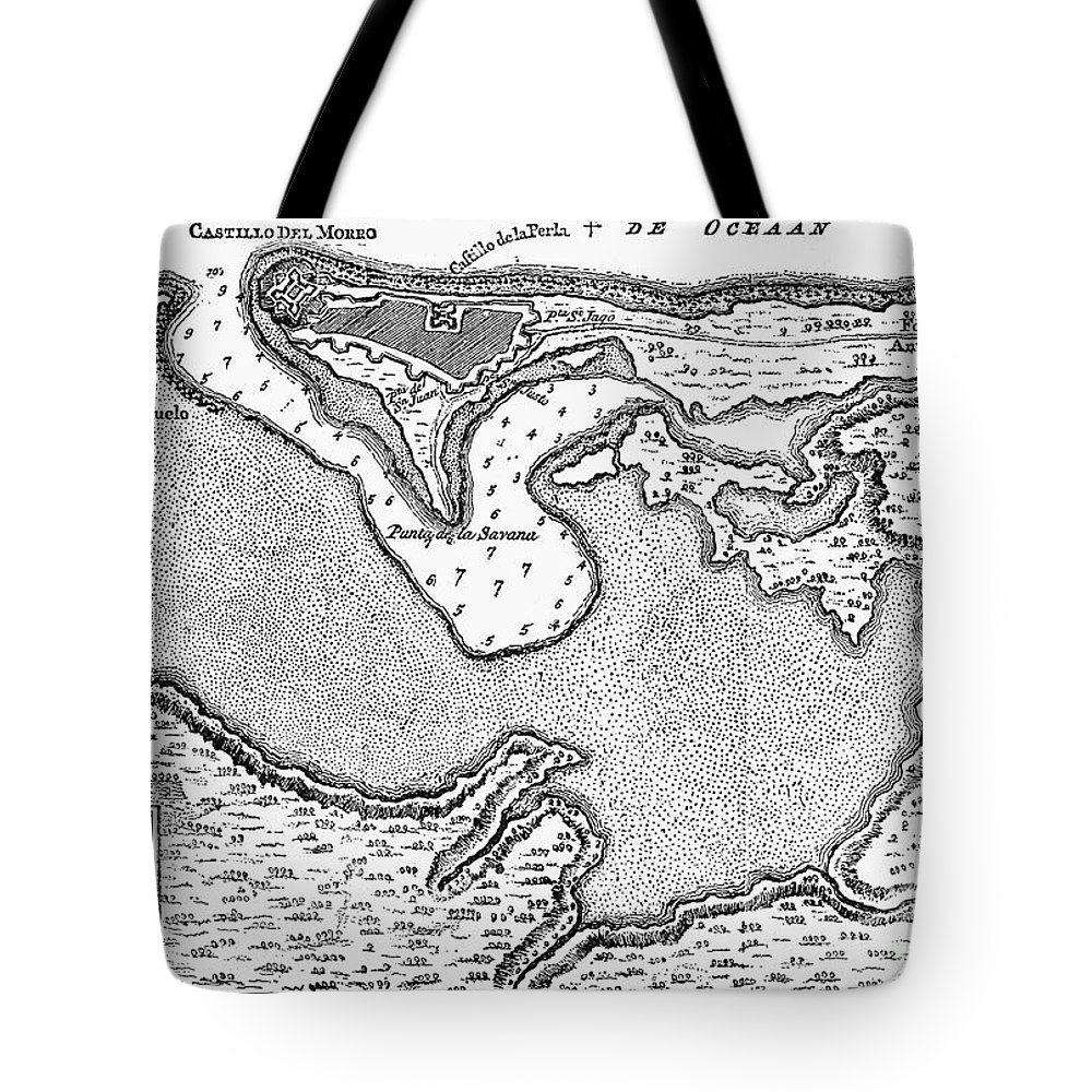 1766 Tote Bag featuring the photograph Map Of San Juan, 1766 by Granger