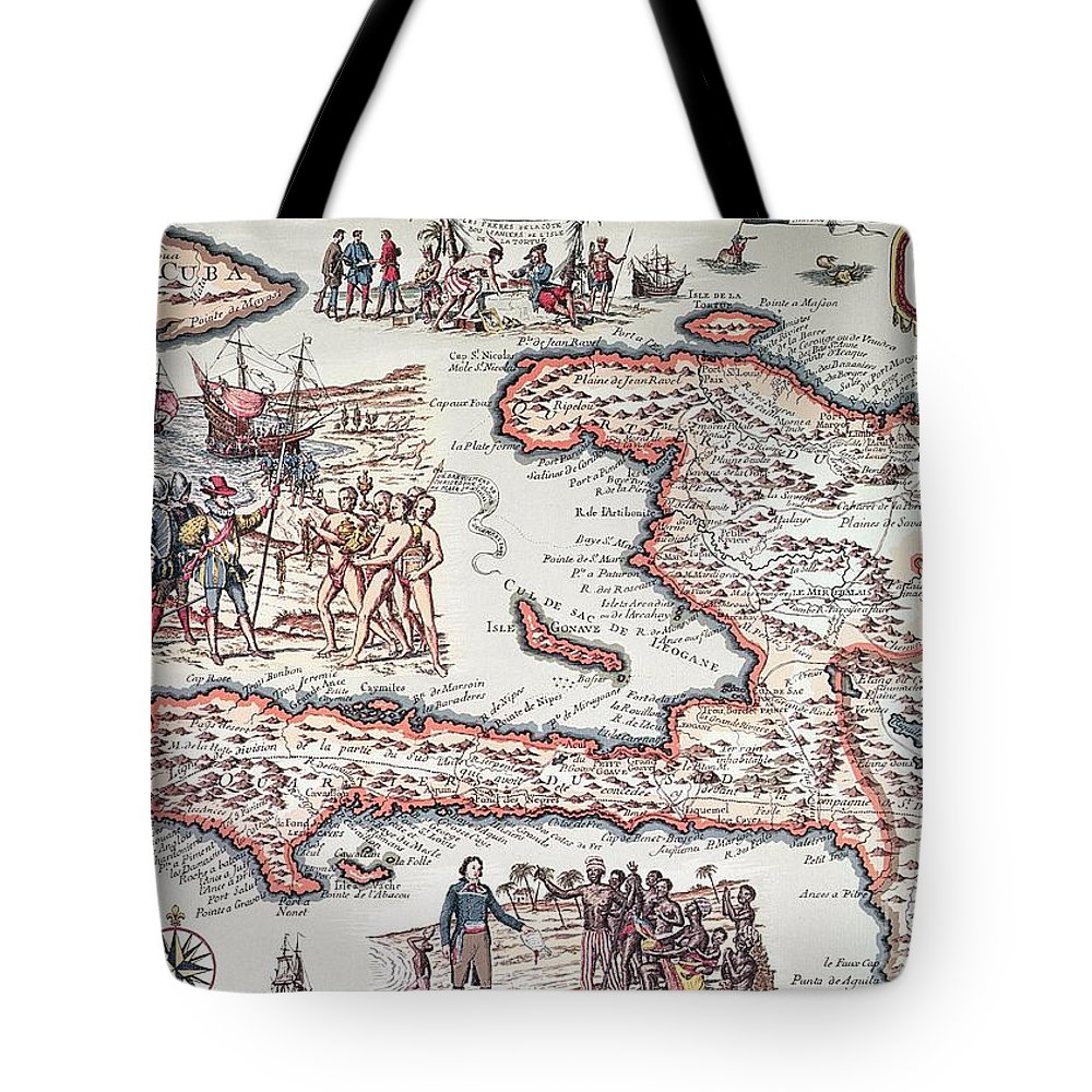 Maps Tote Bag featuring the drawing Map Of The Island Of Haiti by French School