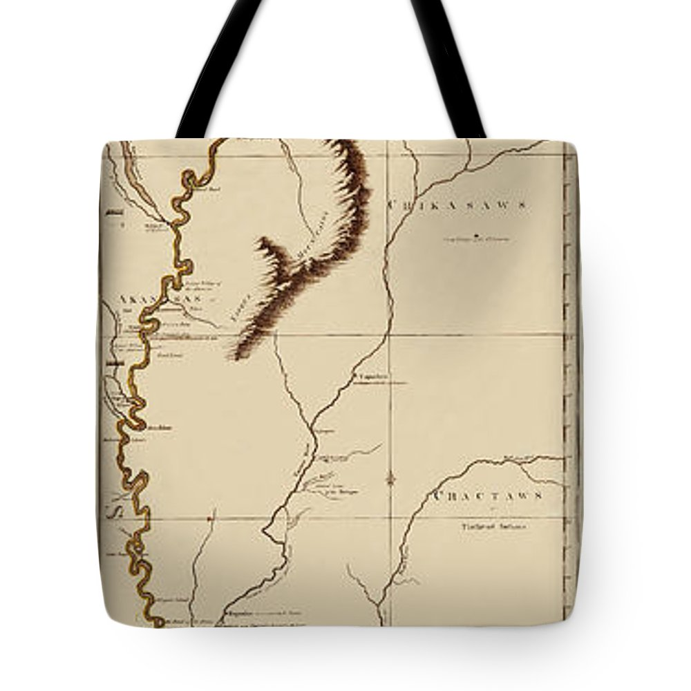Map Of The Mississippi River Tote Bag featuring the photograph Map Of The Mississippi Riverr 1775 by Andrew Fare