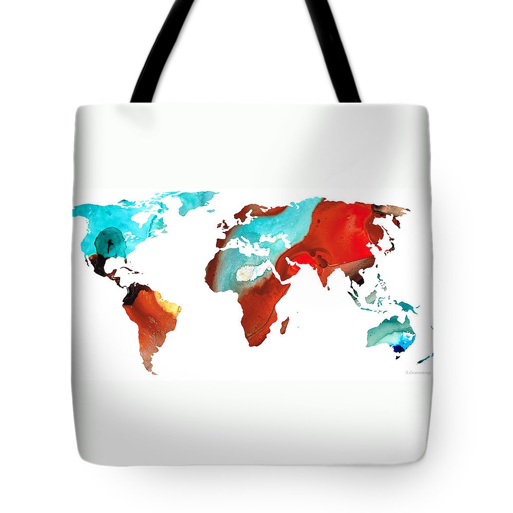 Map Tote Bag featuring the painting Map Of The World 4 -colorful Abstract Art by Sharon Cummings