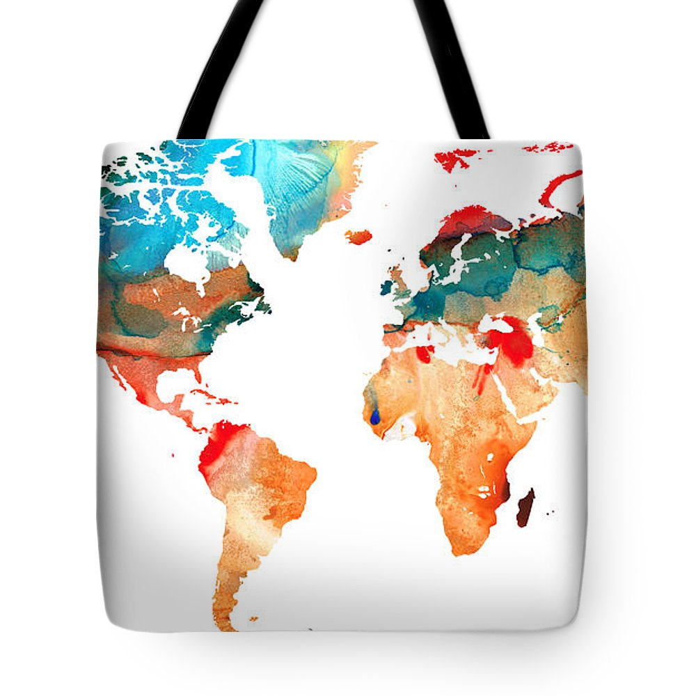 Map Tote Bag featuring the painting Map Of The World 7 -colorful Abstract Art by Sharon Cummings