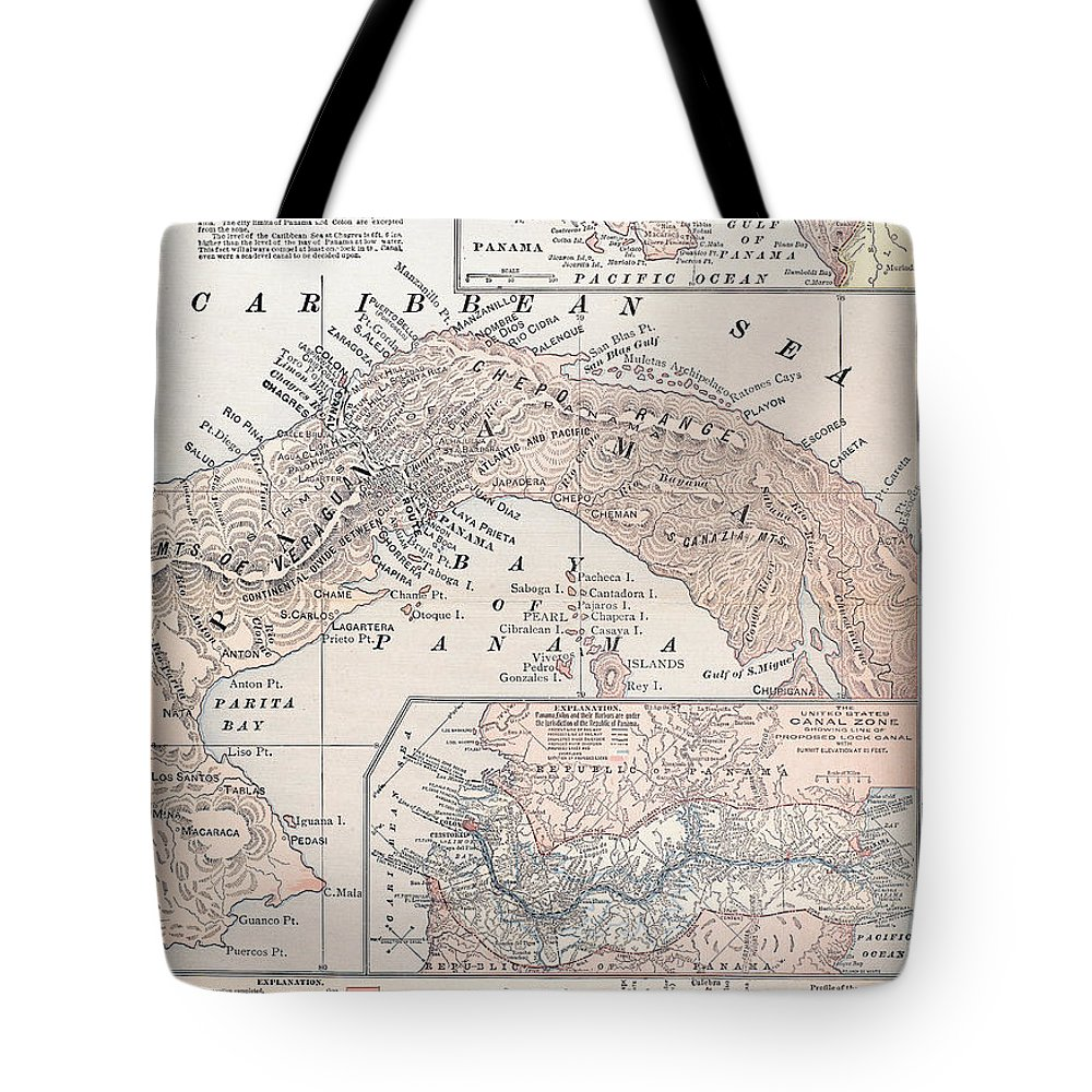 1907 Tote Bag featuring the photograph Map: Panama, 1907 by Granger
