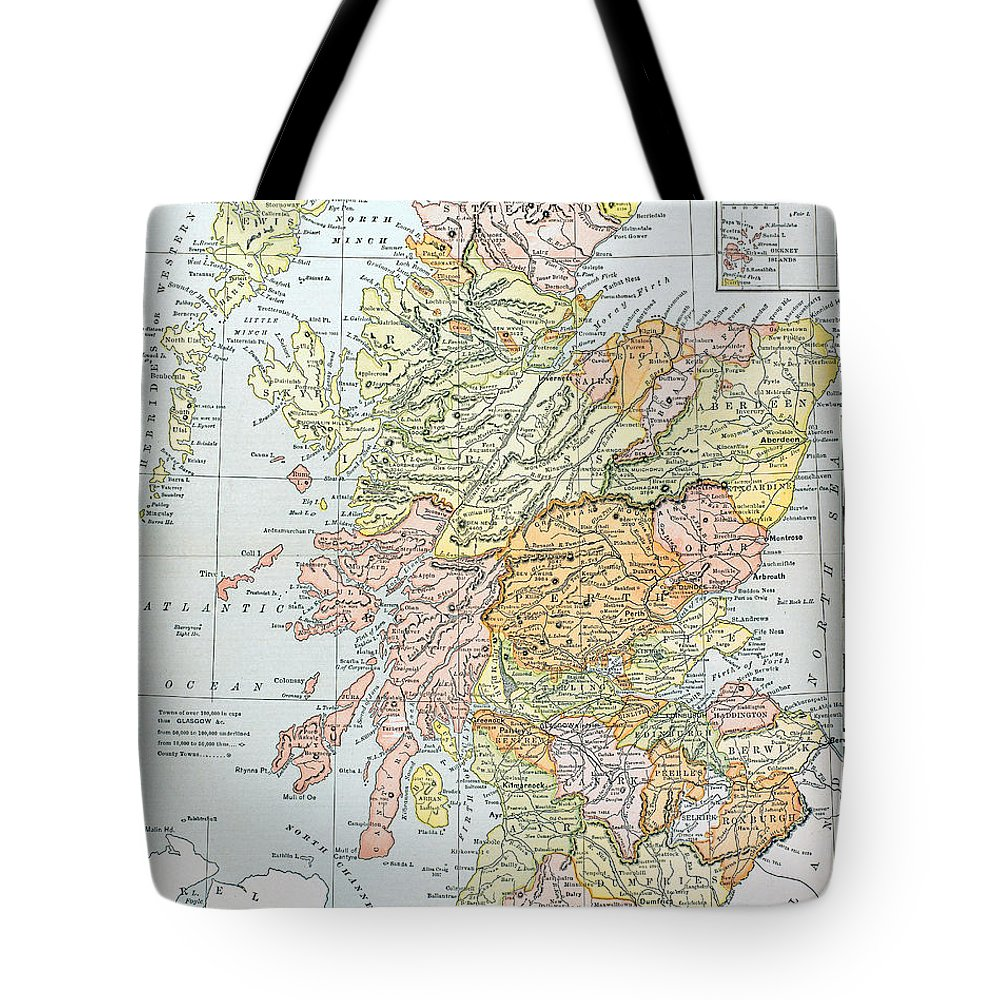 19th Century Tote Bag featuring the photograph Map: Scotland by Granger