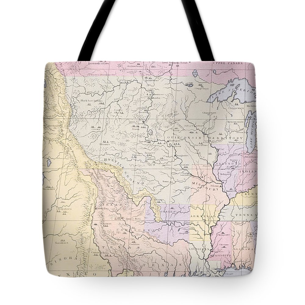 Map Tote Bag featuring the painting Map Showing The Localities Of The Indian Tribes Of The Us In 1833 by Thomas L McKenney and James Hall