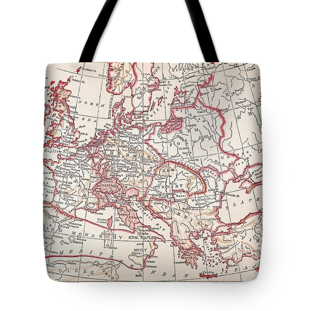 Engraving Tote Bag featuring the photograph Map: Thirty Years War by Granger