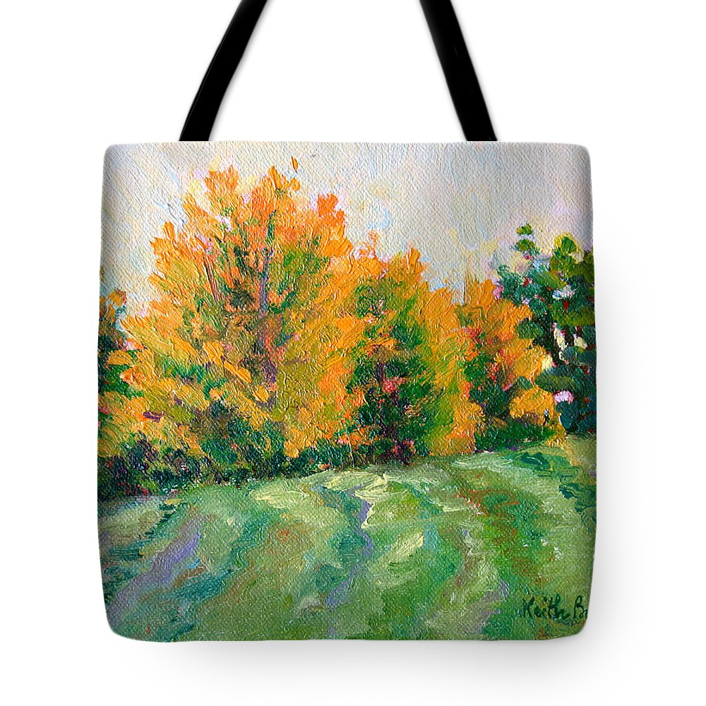 Impressionism Tote Bag featuring the painting Maple Grove by Keith Burgess