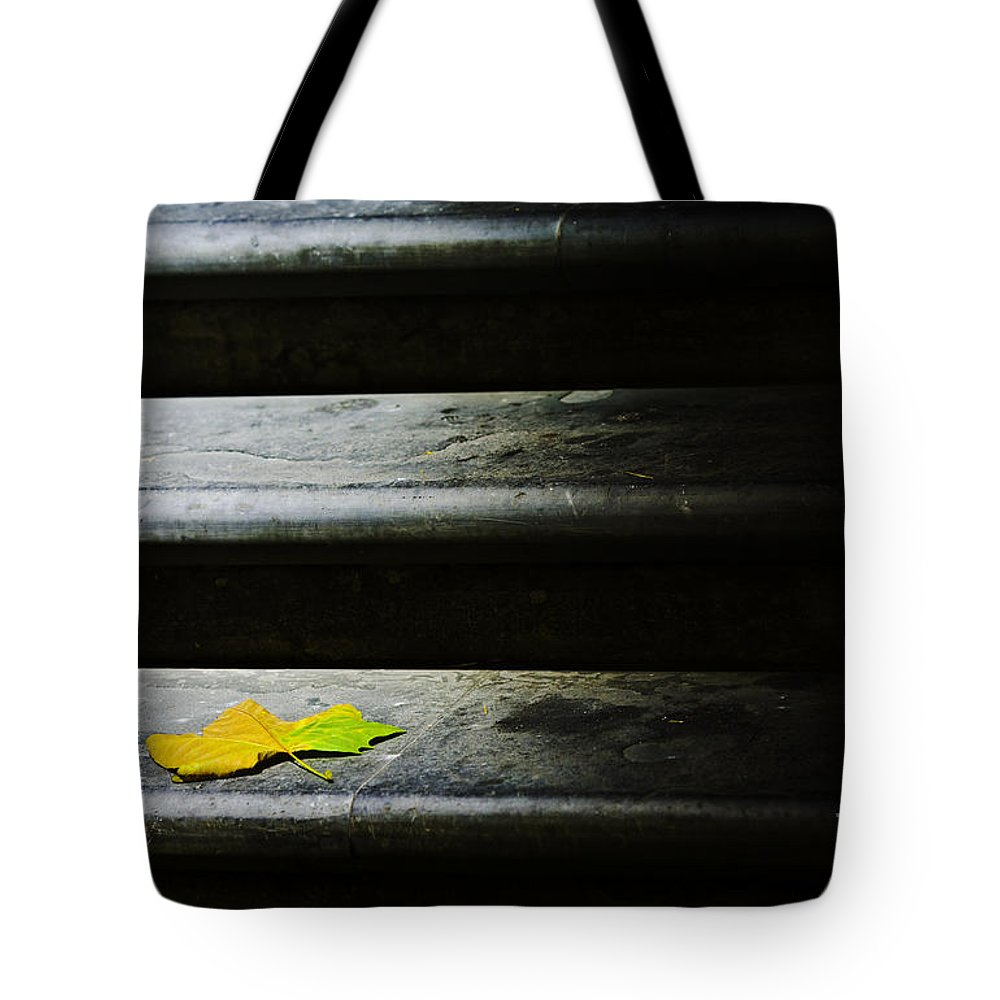 Maple Leaf Tote Bag featuring the photograph Maple leaf on step by Sheila Smart Fine Art Photography