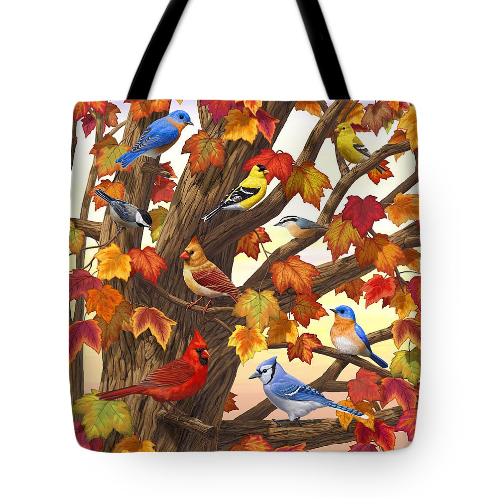 Bird Tote Bag featuring the painting Maple Tree Marvel - Bird Painting by Crista Forest
