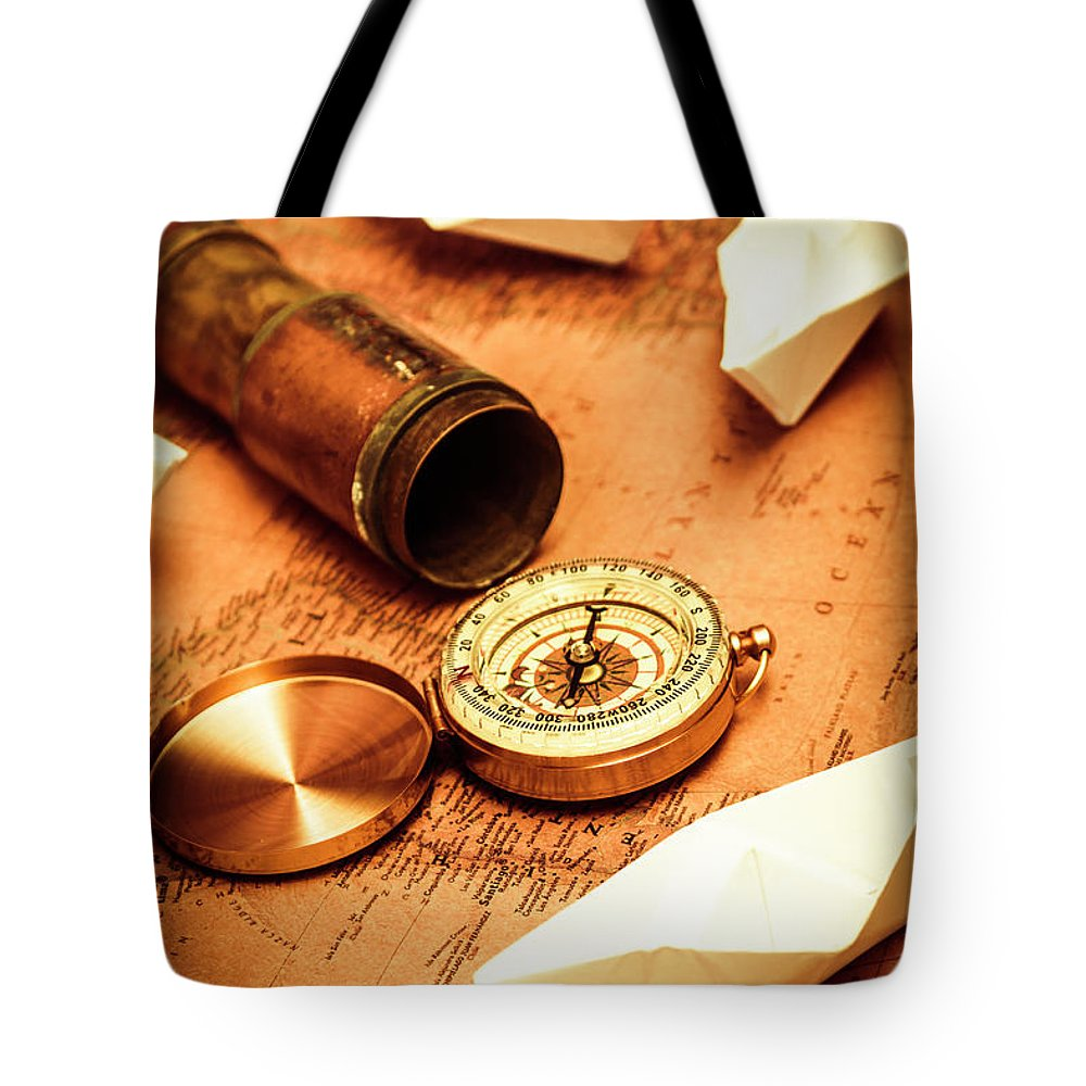 Vintage Tote Bag featuring the photograph Maps And Bearings by Jorgo Photography - Wall Art Gallery