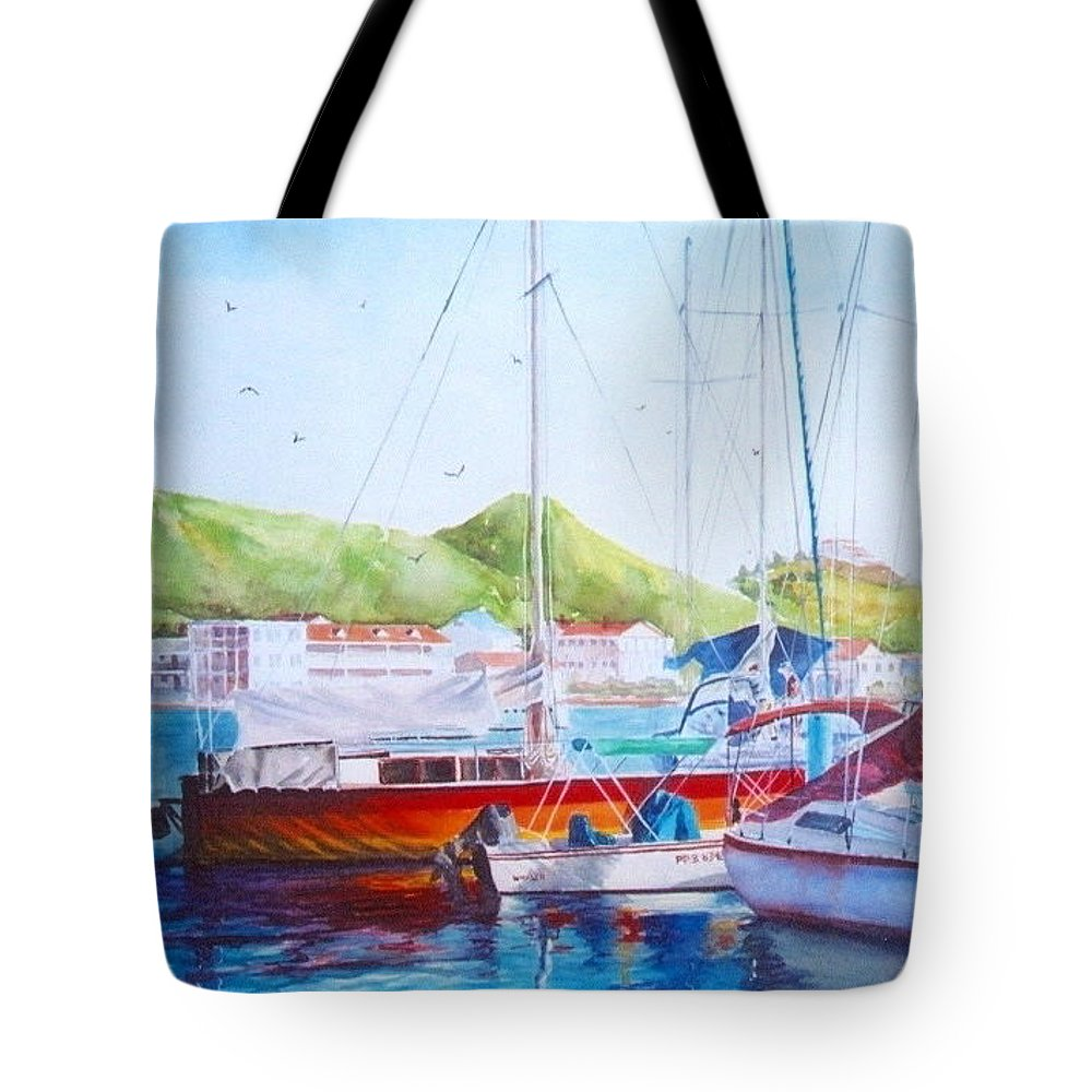 Watercolor Painting Tote Bag featuring the painting Maragot Harbor by Laura Lee Zanghetti