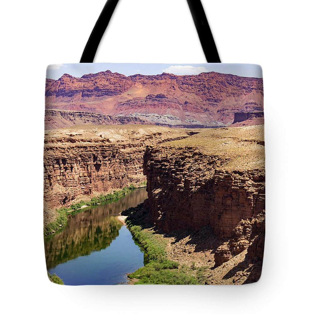 Navajo Bridge Tote Bag featuring the photograph Marble Canyon by Carol Davis